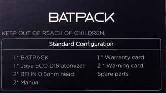 Joyetech Batpack Mod AA Battery E-Cig Box Contents