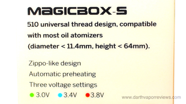 Vangecco Magicbox-S Oil Vaporizer Voltage Settings